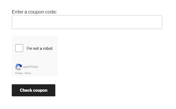Coupon Check form screenshot