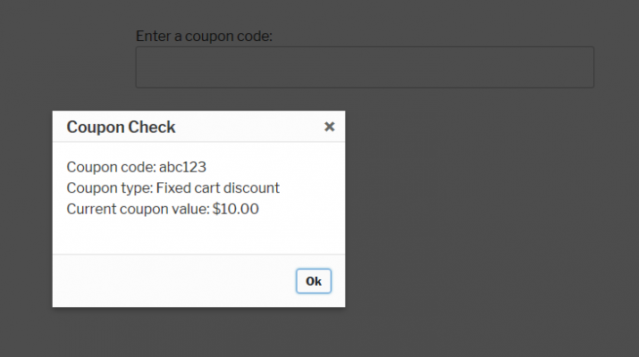 Coupon Check result screenshot