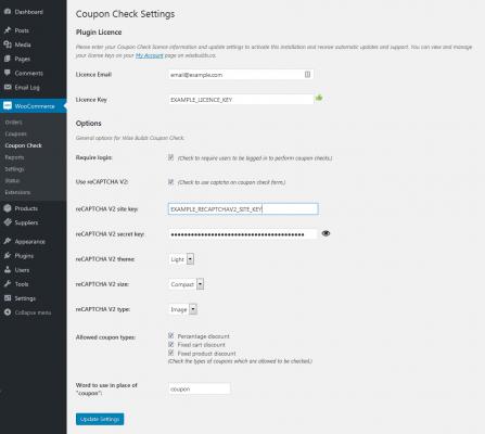Coupon Check settings page screenshot
