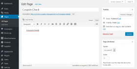 Coupon check shortcode screenshot