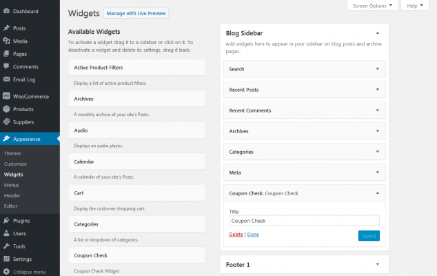 Coupon Check widget screenshot