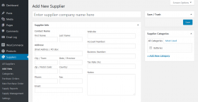 Add new supplier page screenshot