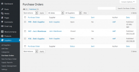 Purchase orders list screenshot