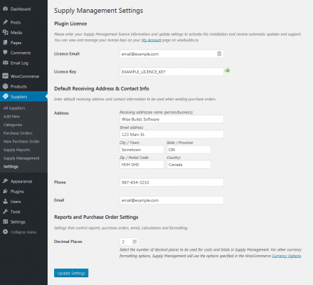 Supply Management settings page screenshot