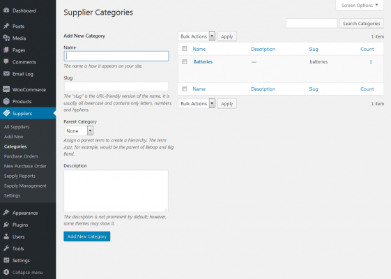 supplier categories screenshot
